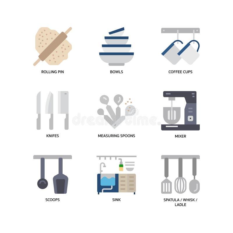 Keuken en cookware pictogrammen stock illustratie