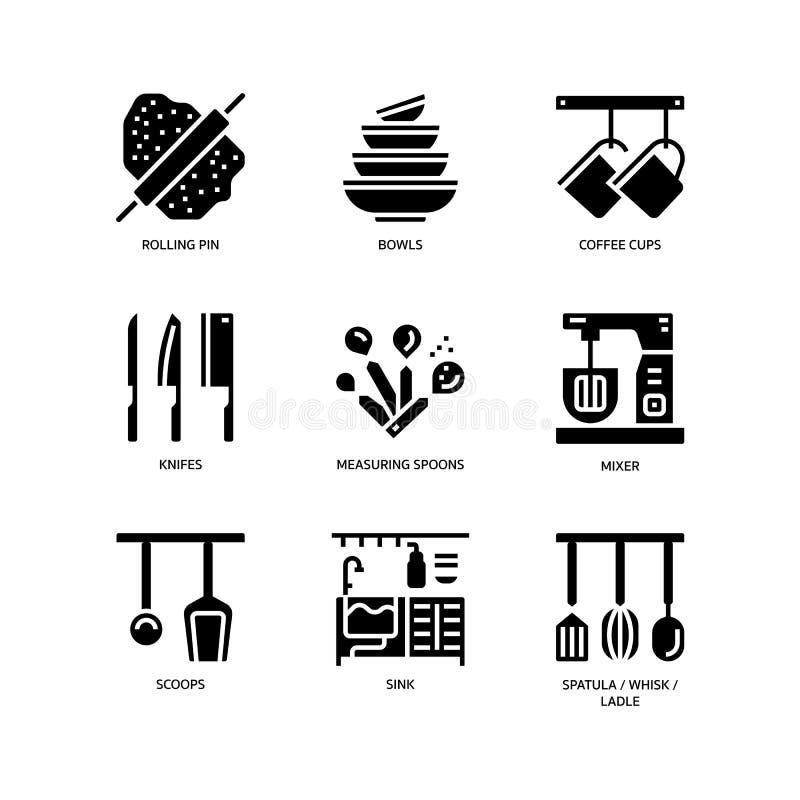 Keuken en cookware pictogrammen vector illustratie