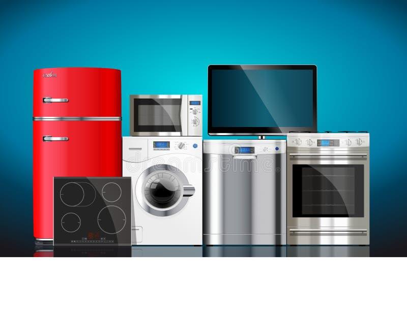 Keuken en huistoestellen vector illustratie