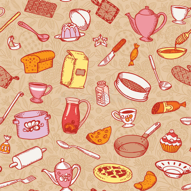 Keuken en Kokend Naadloos Patroon royalty-vrije illustratie