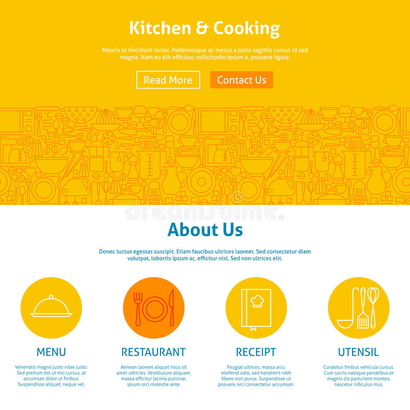 Keuken en Kokende Lijn Art Web Design Template royalty-vrije illustratie