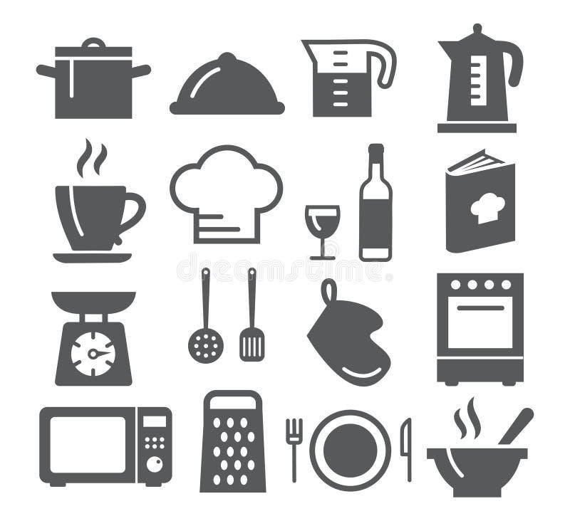 Keuken en kokende pictogrammen stock illustratie
