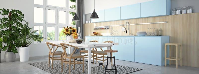 Keuken en woonkamer in zolderflat het 3d teruggeven stock foto
