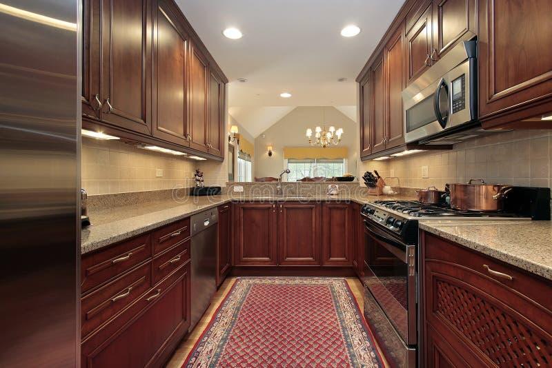 Keuken in flat royalty-vrije stock afbeeldingen