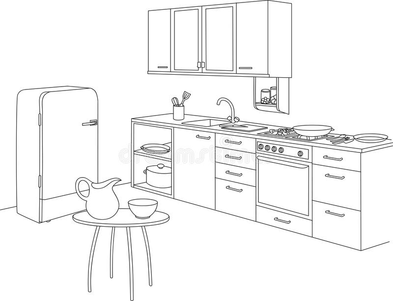 Keuken Geplaatst en Hulpmiddelen Binnenlandse Vectorillustratie vector illustratie