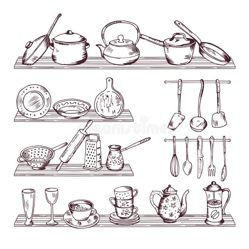 Keuken houten planken met verschillende hulpmiddelen Isoleert de hand getrokken vectorillustratie op witte achtergrond vector illustratie