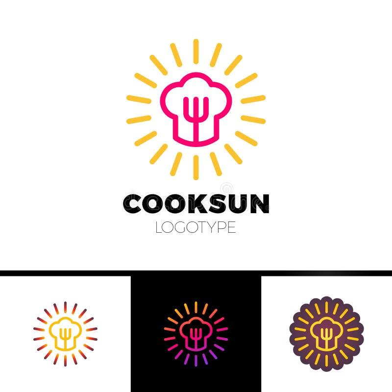 Keuken, koffie, restaurant - het conceptenillustratie van het embleemmalplaatje Chef-kokhoed, vork en zon Zonnig voedselteken De  stock illustratie