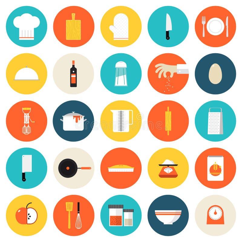 Keuken kokende hulpmiddelen en werktuigen vlakke pictogrammen stock illustratie