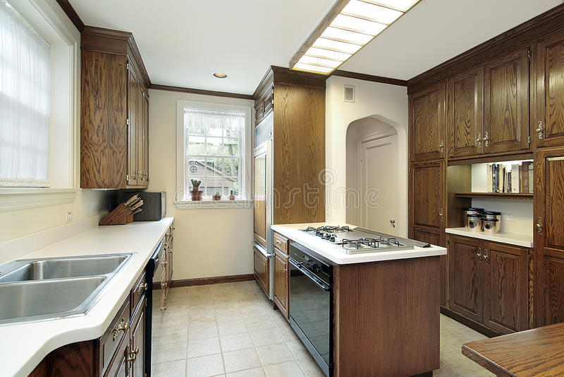 Keuken met fornuis hoogste eiland stock fotografie