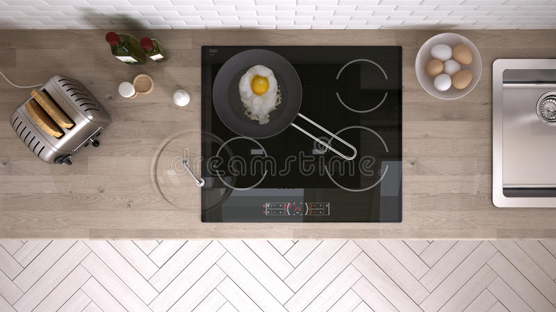 Keuken met keukengereedschap, binnenlands ontwerp stock afbeeldingen
