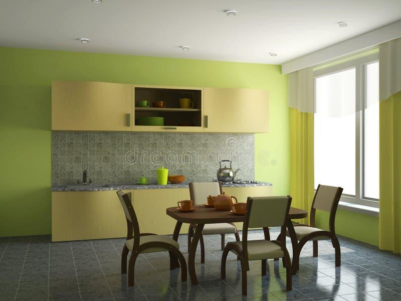 Keuken met meubilair stock foto