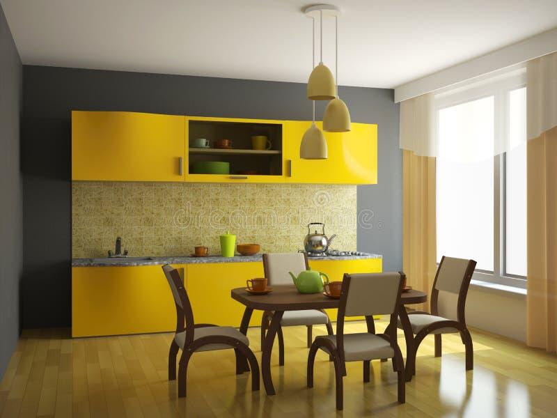 Keuken met oranje meubilair stock fotografie