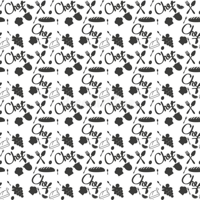 Keuken naadloos patroon als achtergrond - de schotel en het bestektextuur van de chef-kokhoed Vector illustratie vector illustratie