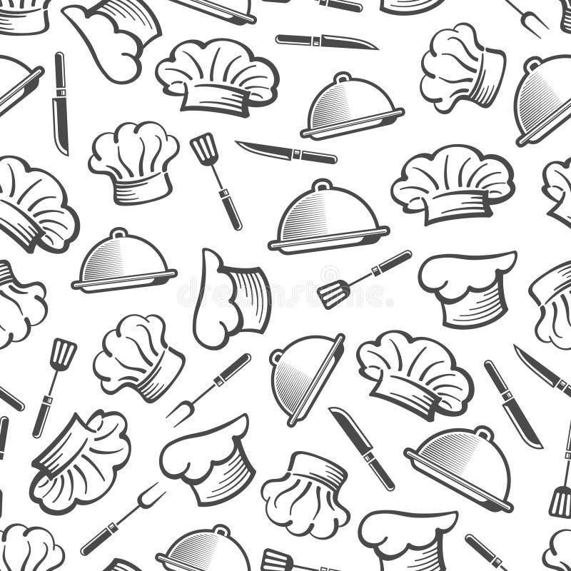 Keuken naadloos patroon - de schotel en het bestektextuur van de chef-kokhoed royalty-vrije illustratie