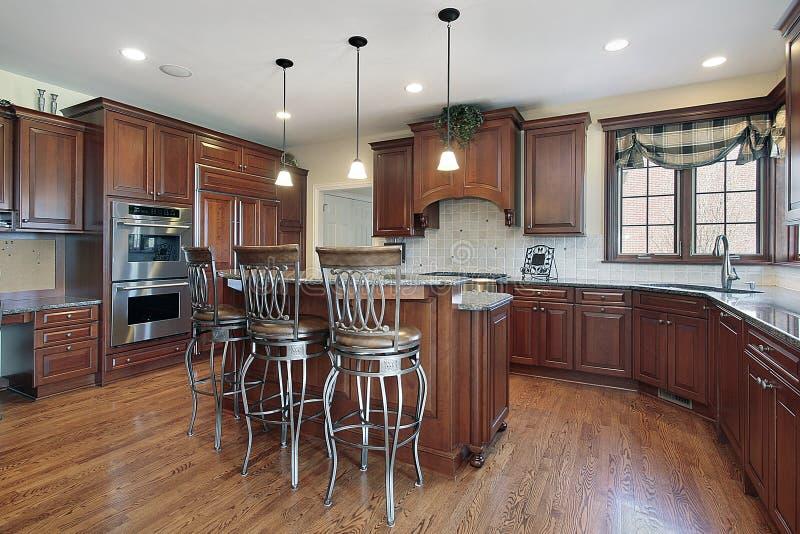Keuken in nieuwe bouwhuis stock afbeelding