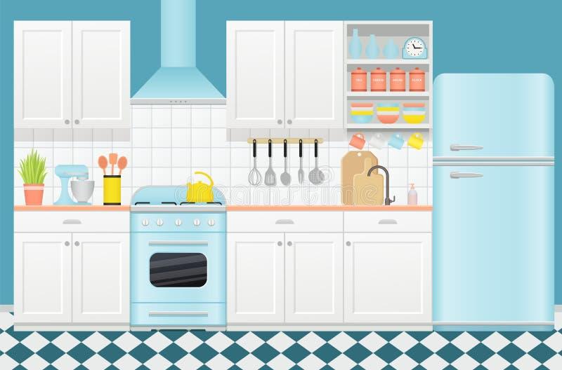 Keuken retro binnenland Vectorillustratie in vlak ontwerp royalty-vrije illustratie