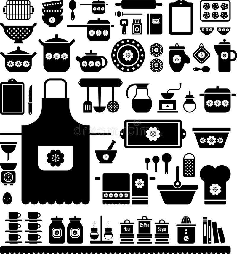 Keuken Retro Werktuigen stock illustratie