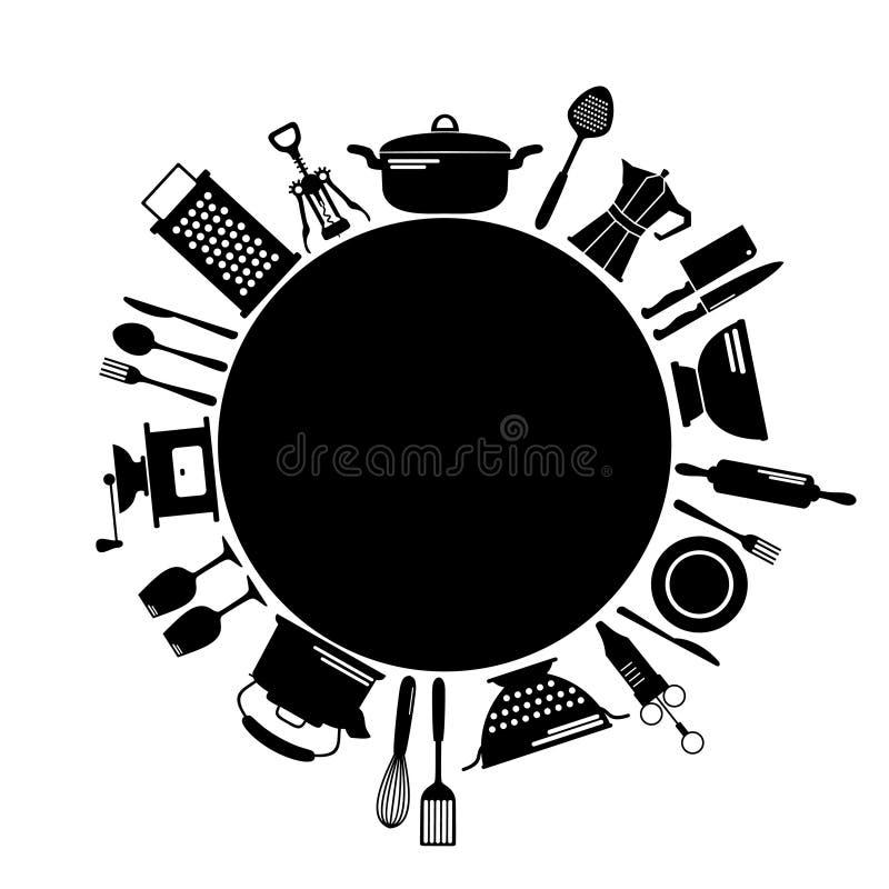 Keuken zwarte ronde achtergrond met plaats voor tekst royalty-vrije illustratie