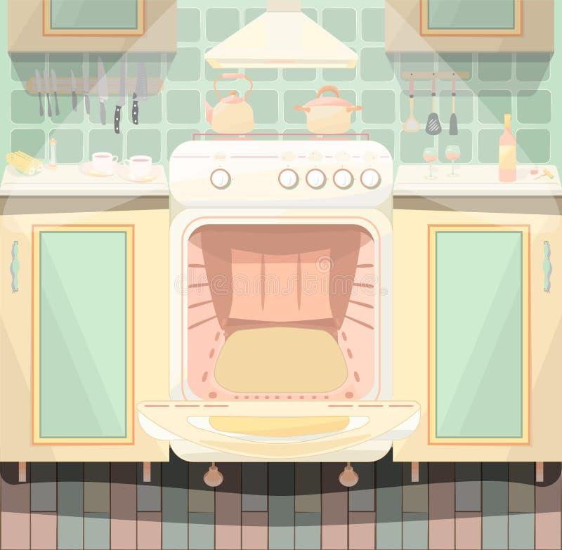 Keukenbinnenland met een reeks stock illustratie