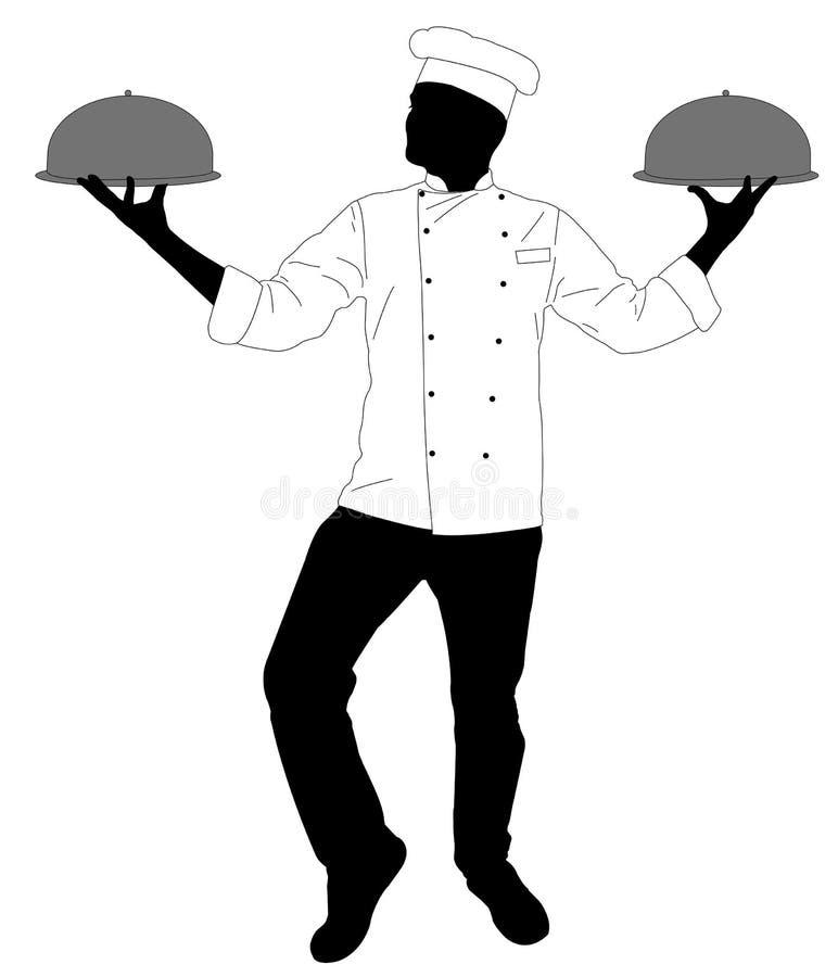 Keukenchef-kok die een maaltijdsilhouet dienen stock illustratie