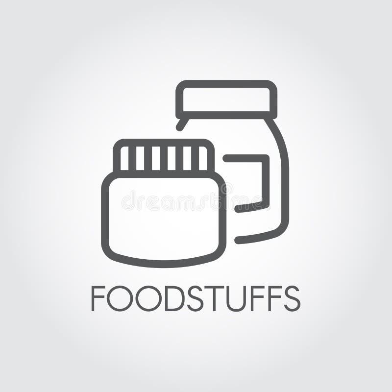 Keukendozen voor diverse producten en ingrediënten Conceptueel pictogram in lineaire stijl Het etiket van de levensmiddelencontou royalty-vrije illustratie