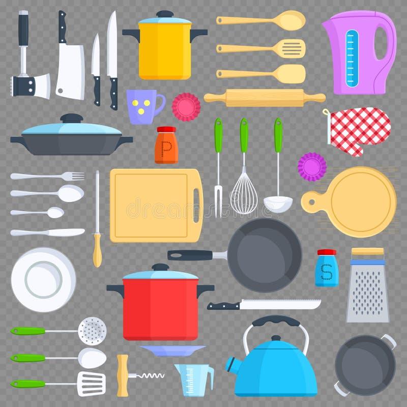 Keukengereedschap, cookware en keukengerei vlakke pictogrammen royalty-vrije illustratie