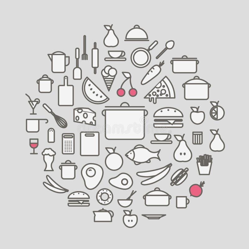 Keukengereedschap en de pictogrammen van het maaltijdsilhouet vector illustratie