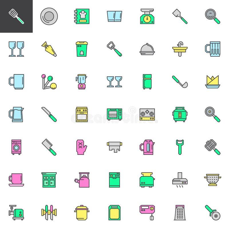 Keukengereedschap gevulde geplaatste overzichtspictogrammen royalty-vrije illustratie