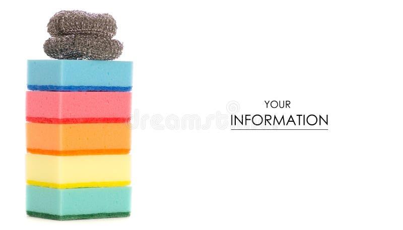 Keukengereedschap om schoon te maken, sponsen voor het patroon van de het metaalborstel van wasschotels royalty-vrije stock afbeelding