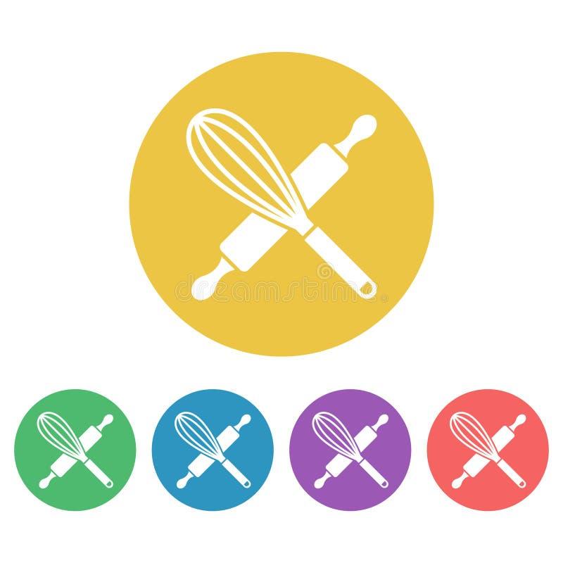 Keukengereedschapreeks van vector om pictogrammen wordt gekleurd dat royalty-vrije illustratie