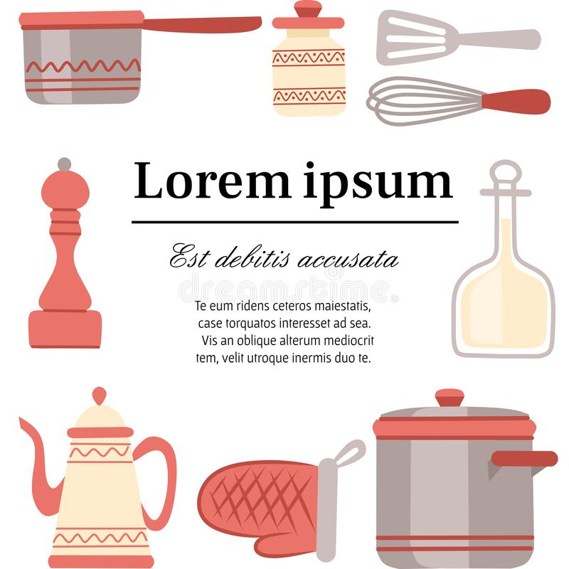 Keukengerei, cookware, keukengereedschapinzameling De moderne pictogrammen van het keukenwerktuig in Arabische stijl Vlakke illus royalty-vrije illustratie