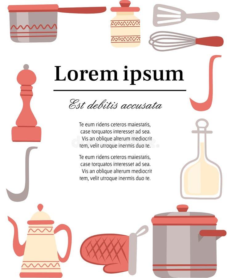 Keukengerei, cookware, keukengereedschapinzameling De moderne pictogrammen van het keukenwerktuig in Arabische stijl Vlakke illus vector illustratie