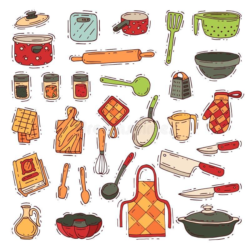 Keukengerei cookware voor het koken en keukengerei of bestek voor het vaatwerk van de kitchenerillustratie in kitchenettereeks stock illustratie