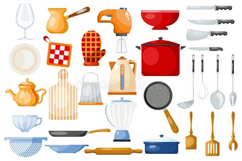 Keukengerei cookware voor het koken en keukengerei of bestek voor het vaatwerk van de kitchenerillustratie in kitchenettereeks royalty-vrije illustratie