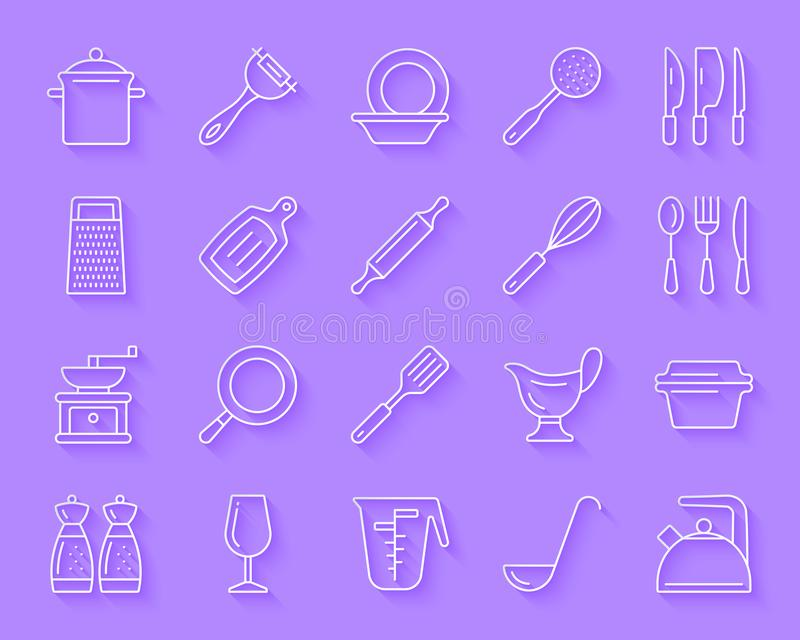 Keukengerei de eenvoudige document vectorreeks van besnoeiingspictogrammen stock illustratie