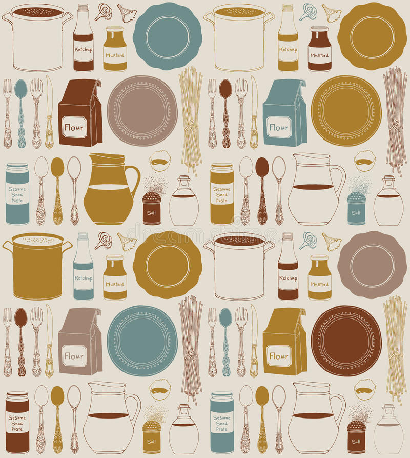 Keukengerei en voedsel Cookware, huis kokende achtergrond vector illustratie