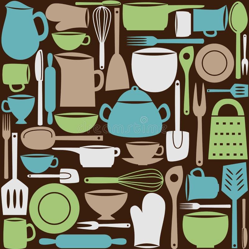 Keukengerei naadloos patroon stock illustratie