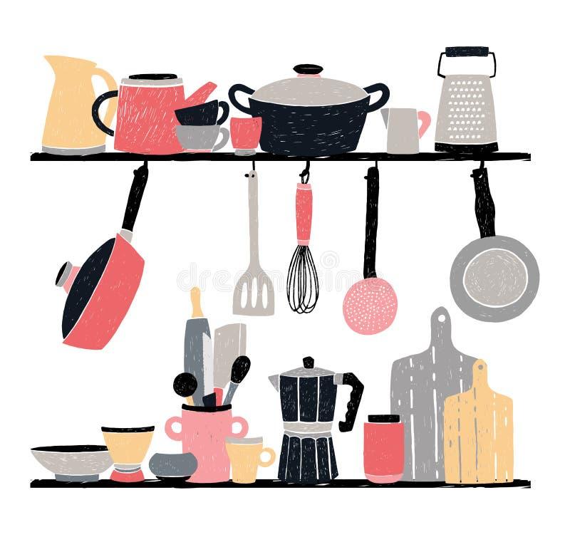 Keukengerei op plank en lijst gestileerde hand getrokken vectorillustratie op witte achtergrond stock illustratie