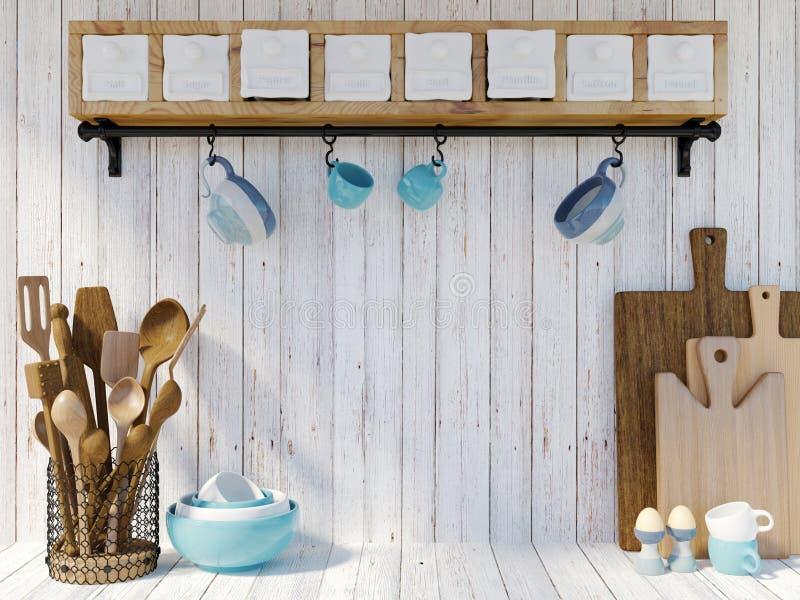 Keukengerei op witte houten achtergrond met exemplaar omhoog ruimte voor spot stock afbeeldingen