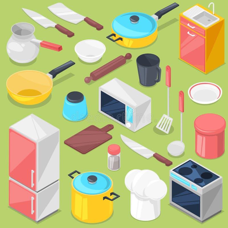 Keukengerei vectorhuishoudapparaat en cookware voor het koken of keukengerei voor kitchener isometrische illustratie stock illustratie