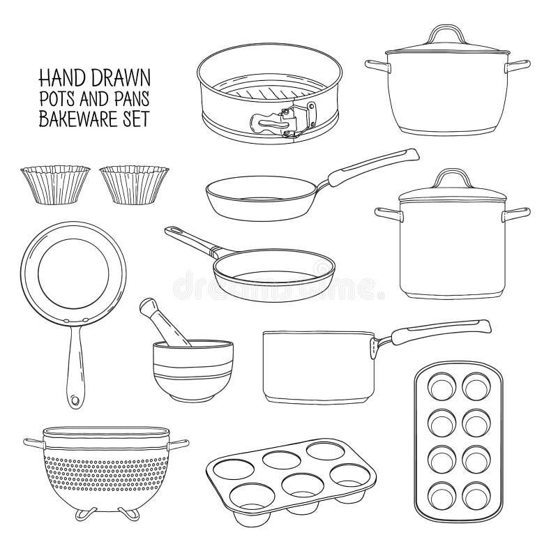 Keukengerei voor baksel Een reeks schotels voor baksel: pan, steelpan, een vergiet Vormen voor cupcakes stock illustratie