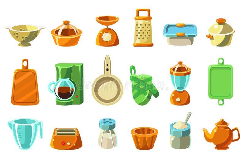 Keukengereikasseisteen, keukengerei, cookware voor het koken van vectorillustraties op een witte achtergrond stock illustratie