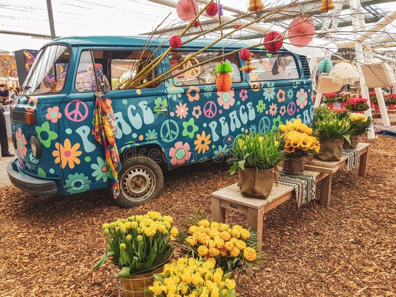 Keukenhof flower power hippie tulips april 2019 stock photos