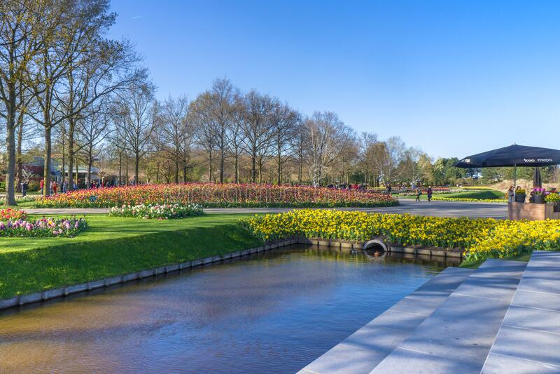 Keukenhof, Lisse, Netherlands - 10 April 2019: Artificial pond in the park on a sunny day. Spring flowers in Koekenhof stock photos