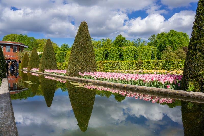 Keukenhof, The Netherlands. Beautiful flower gardens of Keukenhof, The Netherlands, in the spring stock image