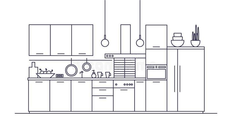 Keukenhoogtepunt van meubilair, huishoudapparaten, cookware, kokende faciliteiten en werktuigen, huisdecoratie Elegant royalty-vrije illustratie