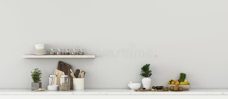 Keukenkamer met fruitset Comfort ruimte in huis stock illustratie