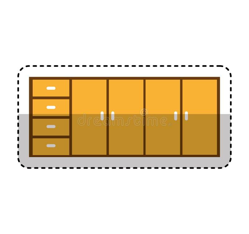 Keukenkast geïsoleerd pictogram stock illustratie