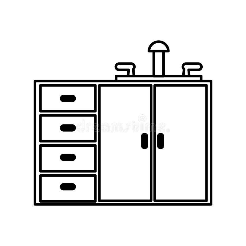 Keukenkast geïsoleerd pictogram vector illustratie