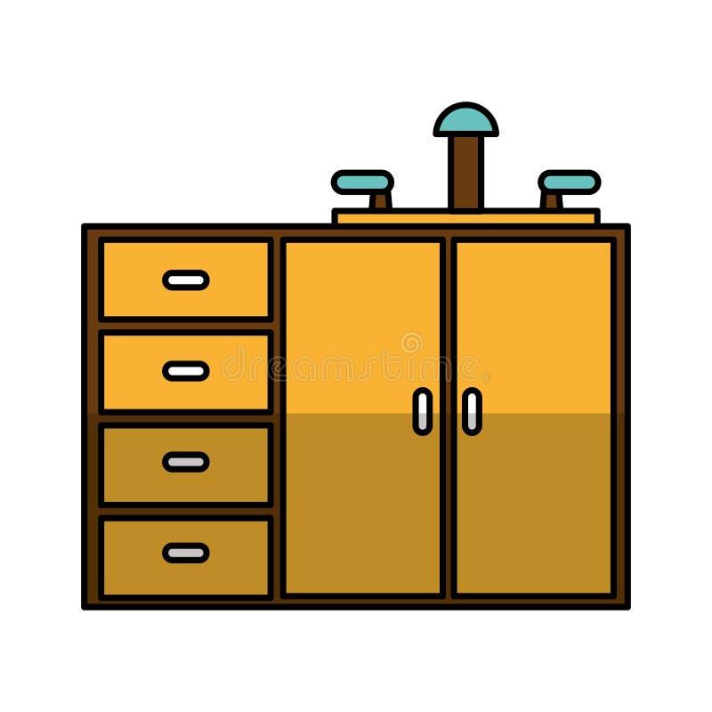Keukenkast geïsoleerd pictogram royalty-vrije illustratie